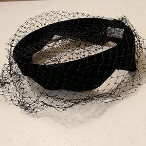 Vintage ladies black velvet hat with netting